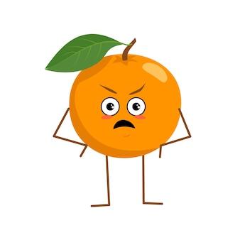 Laranja fofa com emoções raivosas - a fruta laranja engraçada ou mal-humorada do herói