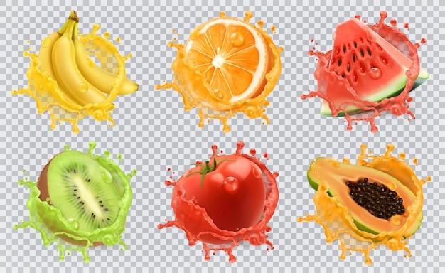Laranja, kiwi, banana, tomate, melancia, suco de mamão. frutas frescas e salpicos, conjunto de ícones de vetor 3d