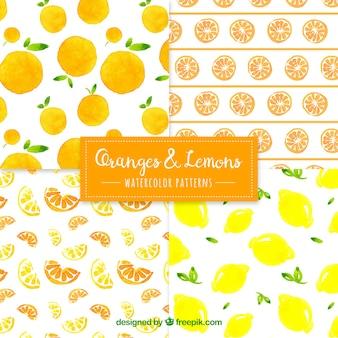 Laranja, limão, padrões, aguarela, estilo