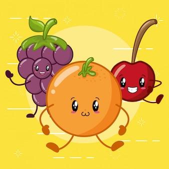 Laranja, maçã e uva sorrindo no estilo kawaaii