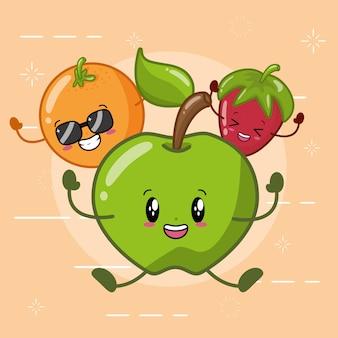 Laranja, maçã verde e morango sorrindo no estilo kawaii.
