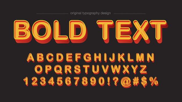 Laranja negrito chanfrado design tipografia retro