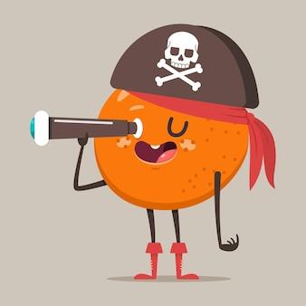 Laranja pirata engraçado no chapéu com caveira e ossos cruzados e binóculos.