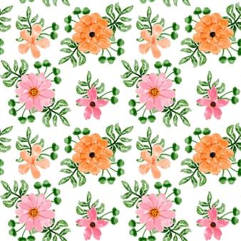 Laranja rosa aquarela floral padrão sem emenda