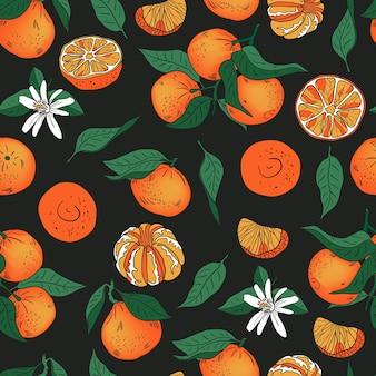 Laranja tangerina mandarim com padrão de vetor de folhas