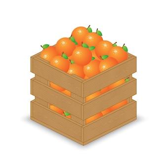 Laranjas em caixa de madeira
