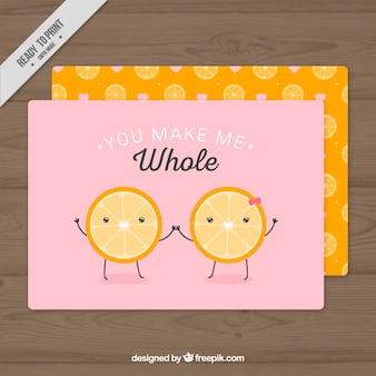 Laranjas engraçado cartão de amor
