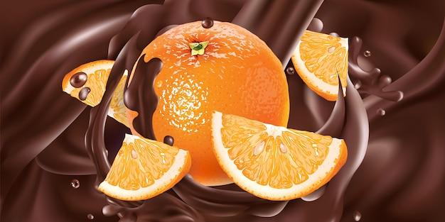 Laranjas frescas são adicionadas ao chocolate líquido. ilustração realista.