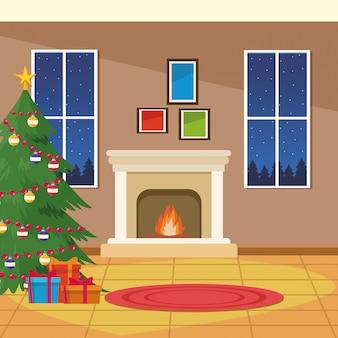 Lareira a lenha com árvore de natal