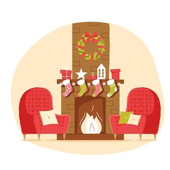 Lareira clássica de tijolos com presentes de poltrona com meias de natal e uma grinalda