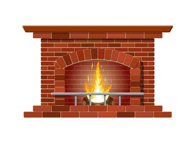 Lareira clássica feita de tijolos vermelhos, chama acesa e toras fumegantes dentro