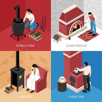 Lareira clássica fogão potbelly e conceito isométrico de vários fornos isolado em colorido