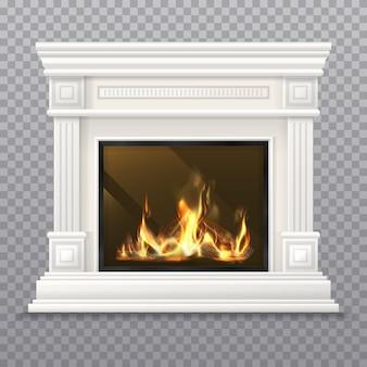 Lareira clássica realista com lenha e fogo ardente. chaminé interna com parede, lareira 3d ou design de forno vintage, fogão a carvão. mantelpiece para o fundo de natal. mantelshelf isolado