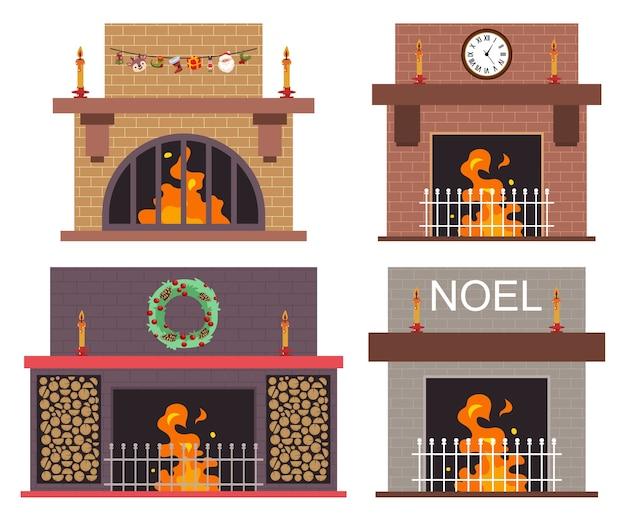 Lareira com conjunto de desenhos animados de decorações de natal isolado em um fundo branco
