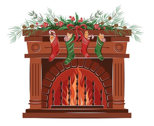 Lareira com meias meias presentes e ramos árvore de natal véspera de natal