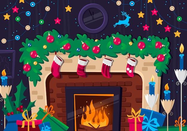 Lareira com meias vermelhas, presentes e decorações no interior, cartão de felicitações de natal e ano novo