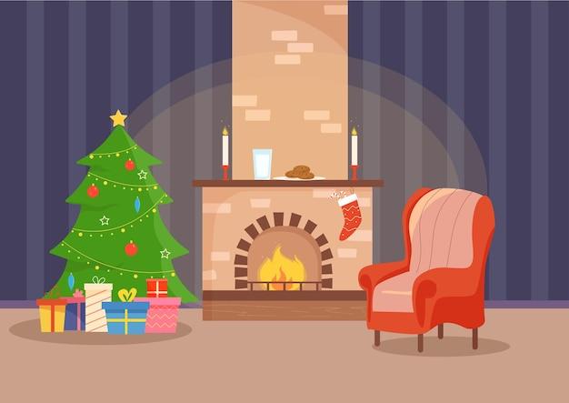Lareira de natal com cadeira de árvore de natal, velas, meias, biscoitos e leite para o papai noel