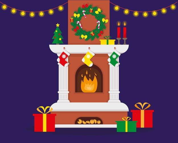 Lareira de natal com chama decorada para o natal e ano novo