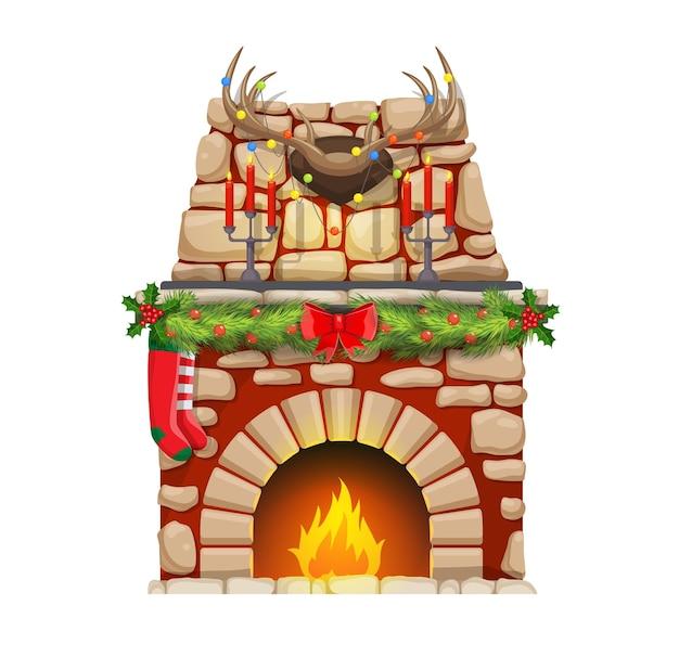 Lareira de natal com fogo e decorações de natal