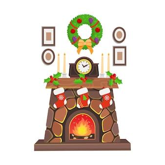 Lareira de natal com relógio, grinalda, pinturas, velas. ilustração de desenho vetorial.