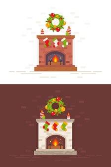 Lareira de natal ilustração isolada em estilo plano