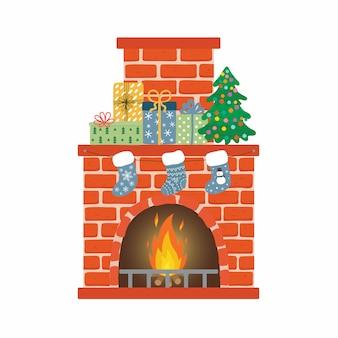 Lareira de tijolo vermelho com meias, árvore de natal e presentes
