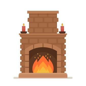 Lareira de tijolos a arder com fogo. chaminé interna clássica em estilo tradicional com velas. sistema de aquecimento doméstico vintage