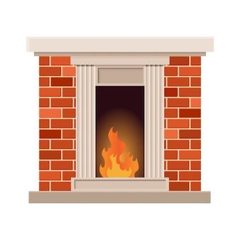 Lareira de vetor com fogo. projeto vintage de forno de pedra com lareira. design do ícone plana ilustração isolado
