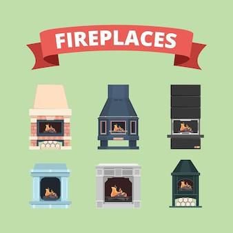 Lareira. decoração retro da chama do fogão a gás em lareiras de fotos planas de vetor de interiores. fogão com fogo, ilustração de coleção de lareira clássica interior
