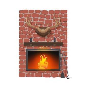Lareira e troféu de caça. lareira de desenho vetorial ou lareira a lenha. chaminé de pedra vermelha, consolo de lareira e chifres de veado, pá e pôquer, design de interiores de casas