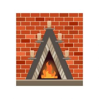 Lareira em casa com fogo. forno de pedra com lareira. ilustração isolado no fundo branco