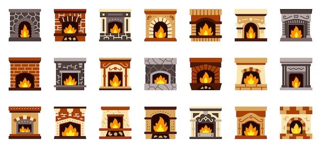 Lareira natal fogo plana ícone conjunto, sinal de aconchegante casa, lugar de meia de presente de natal.