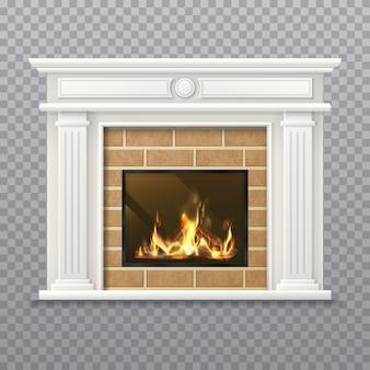 Lareira realista em uma parede de tijolos. lareira isolada em fundo transparente. lareira 3d com chama ou chaminé com lenha, sala com lareira com grelha, fogão. interior para o natal