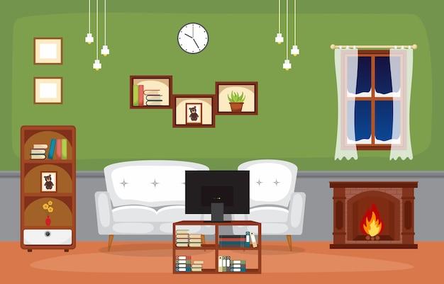 Lareira sala de estar familiar casa mobiliário interior ilustração vetorial