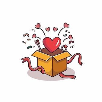 Lareira voando da caixa de presente do dia dos namorados