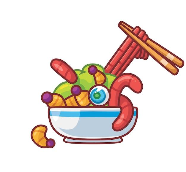 Larva de verme deliciosa em uma tigela. ilustração de halloween animal isolada dos desenhos animados. estilo simples adequado para vetor de logotipo premium de design de ícone de etiqueta. personagem mascote