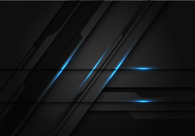 Laser claro azul no fundo futurista metálico cinzento escuro.