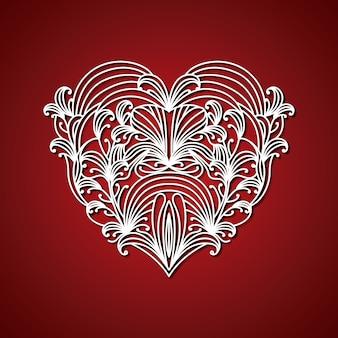 Laser que corta o coração abstrato com formas decorativas