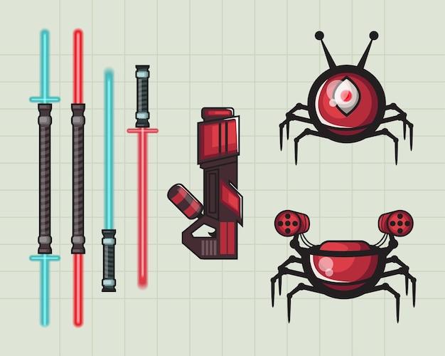 Lasers e robôs alienígenas para logotipos, adesivos, ícones e pôsteres