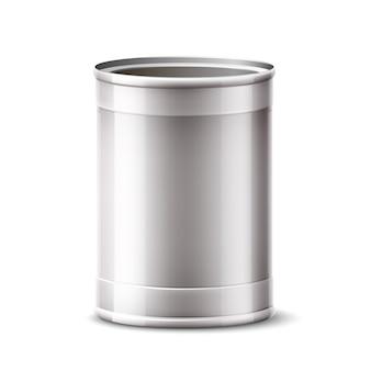 Lata 3d, recipiente de prata para o produto