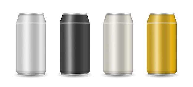 Lata de alumínio com refrigerante ou suco em fundo branco para publicidade. conjunto de latas de bebida de alumínio coloridas realistas. ilustração, .