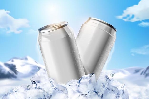 Lata de alumínio de bebida gelada em branco sobre cubos de gelo em fundo azul, ilustração 3d