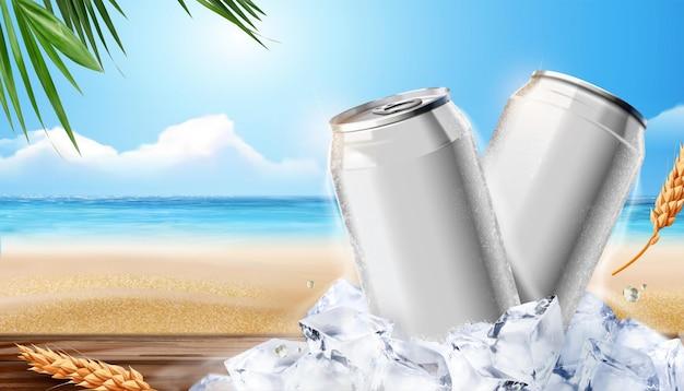 Lata de alumínio de bebida gelada em branco sobre cubos de gelo no fundo da praia, ilustração 3d