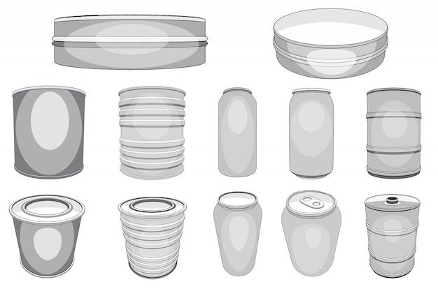 Lata de alumínio de lata de alumínio para bebidas refrigerantes ou cerveja com álcool e garrafa de metal vazia ou conjunto de recipiente de alumínio