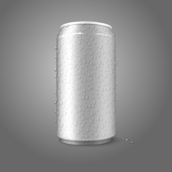 Lata de alumínio em branco com água condensada cai sobre ele.