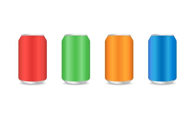Lata de alumínio vermelho azul verde e laranja. lata de bebida de metal em estilo realista. ilustração vetorial eps 10