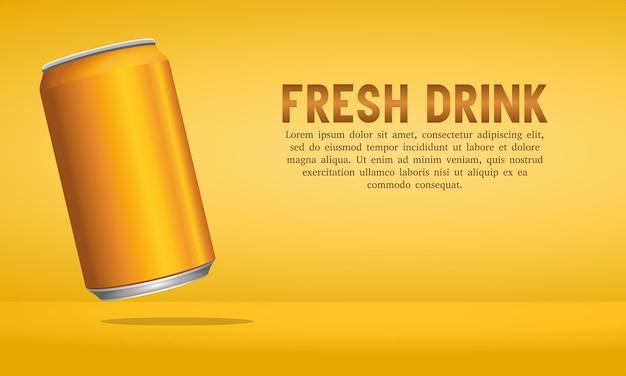 Lata de bebida energética de laranja em fundo laranja