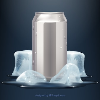 Lata de bebida gelada e refrescante