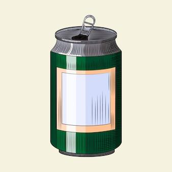 Lata de bebida isolada na luz de fundo. modelo de lata de cerveja verde desenhada de mão.