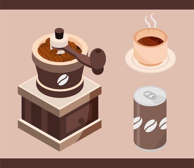 Lata de café, xícara, máquina de torrefação, cerveja, ilustração isométrica